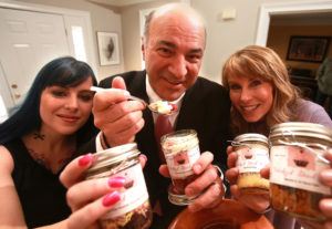 (03/04/2015 Marshfield, MA) Wicked Good Cupcakes Tracey Noonan, right, and Danielle Vilagie (on left) got a major national boost in 2013 for their popular locally based mail order cupcake business with an investment from Kevin O'Leary, center, of Shark Tank. Wednesday, March 4, 2015. Staff Photo by Matt West